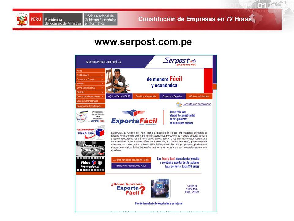 www.serpost.com.pe 1. El solicitante debe ingresar al Portal de Servicios al ciudadano y empresas.