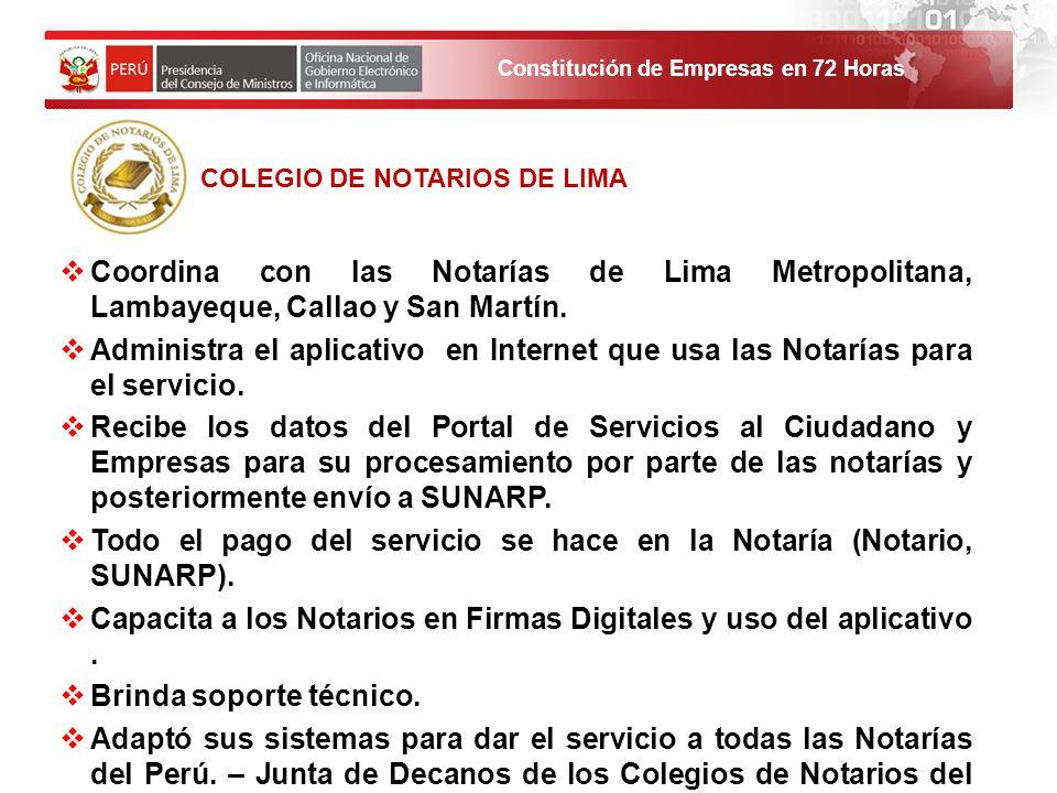Todo el pago del servicio se hace en la Notaría (Notario, SUNARP).