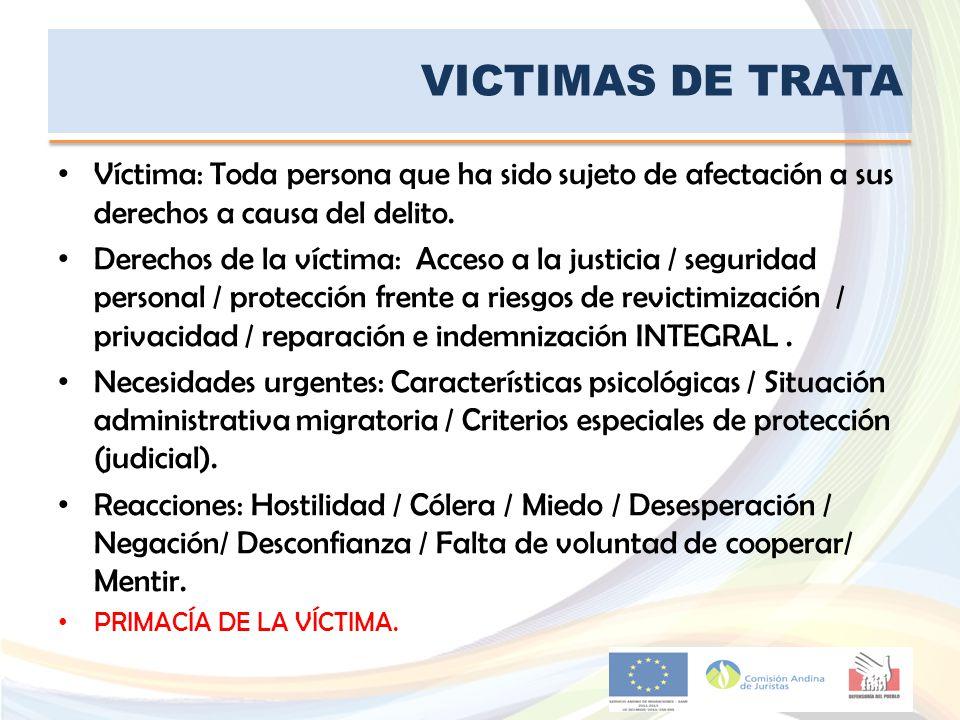 VICTIMAS DE TRATA Víctima: Toda persona que ha sido sujeto de afectación a sus derechos a causa del delito.