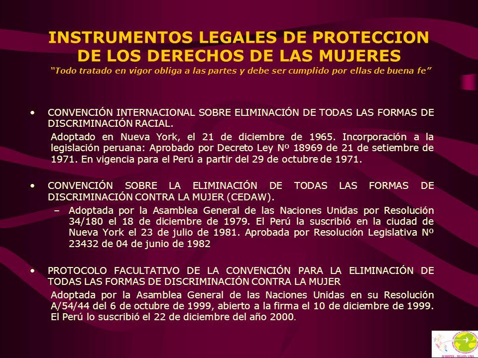 INSTRUMENTOS LEGALES DE PROTECCION DE LOS DERECHOS DE LAS MUJERES Todo tratado en vigor obliga a las partes y debe ser cumplido por ellas de buena fe