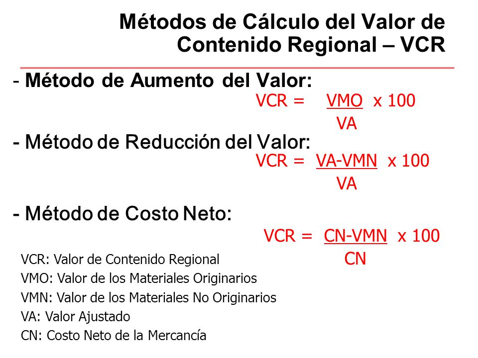 Métodos de Cálculo del Valor de Contenido Regional – VCR