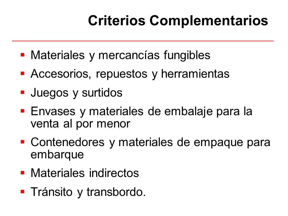 Criterios Complementarios