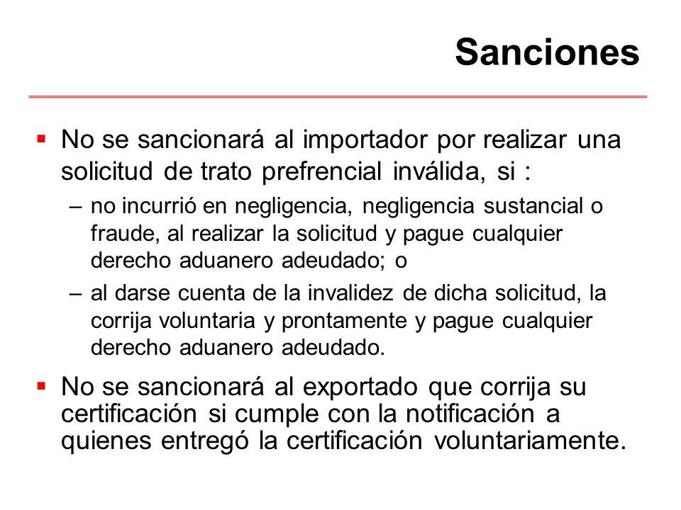 Sanciones No se sancionará al importador por realizar una solicitud de trato prefrencial inválida, si :