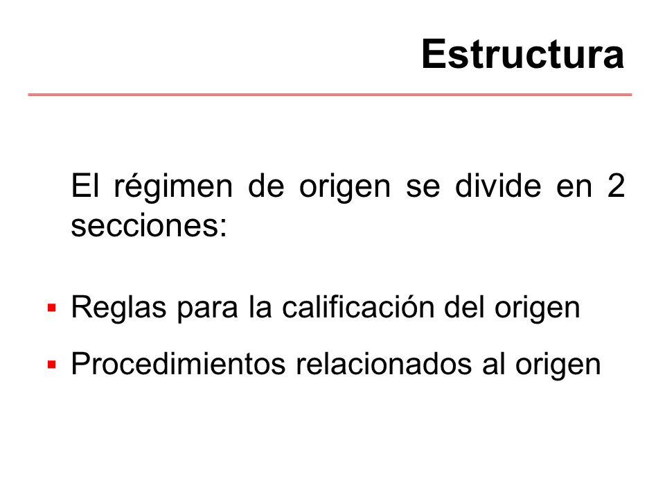 Estructura El régimen de origen se divide en 2 secciones:
