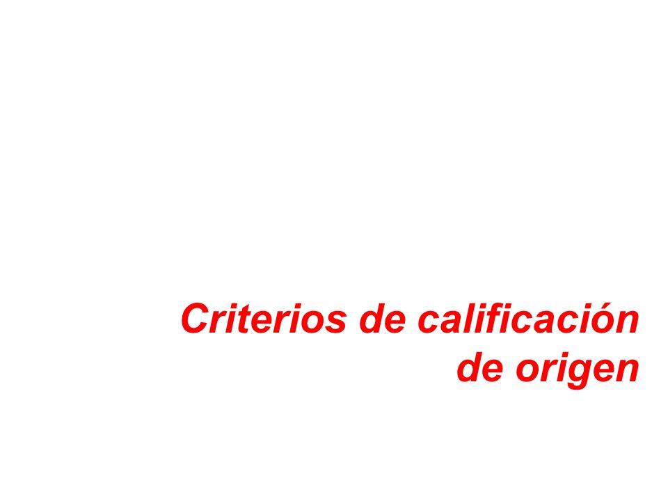 Criterios de calificación de origen