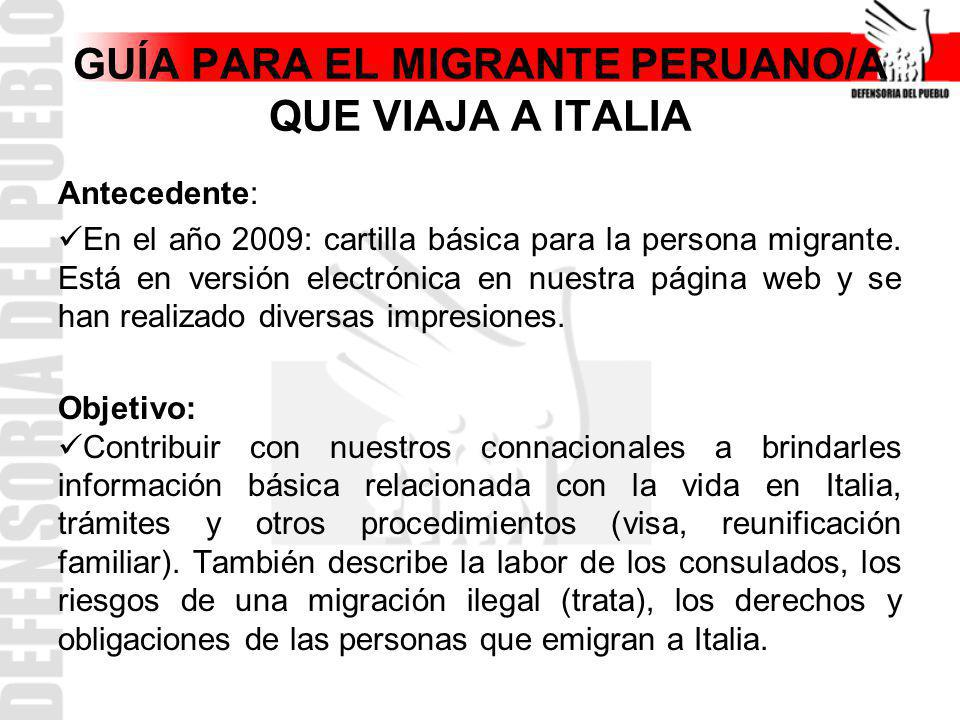 GUÍA PARA EL MIGRANTE PERUANO/A QUE VIAJA A ITALIA
