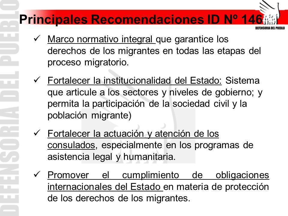 Principales Recomendaciones ID Nº 146