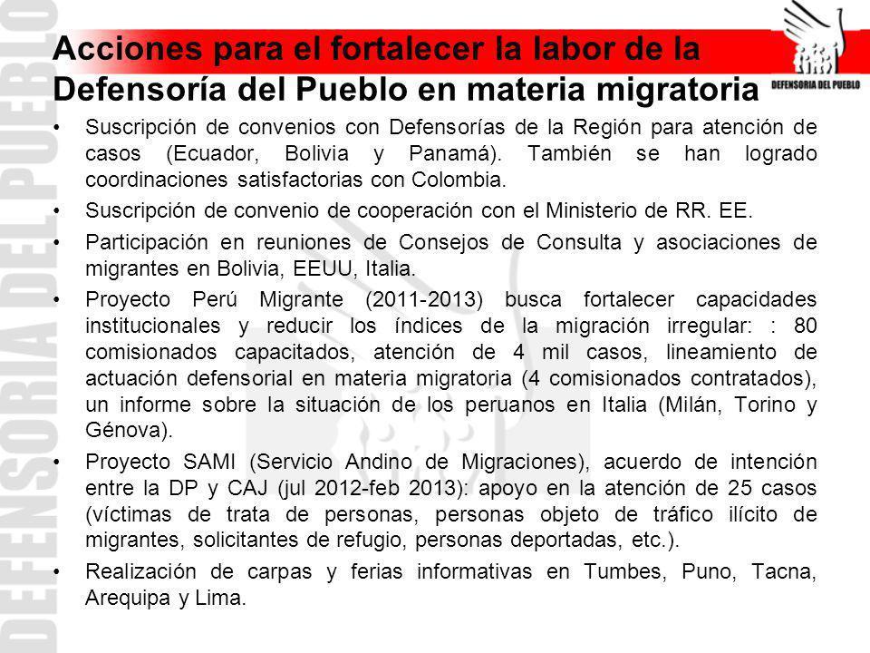 Acciones para el fortalecer la labor de la Defensoría del Pueblo en materia migratoria