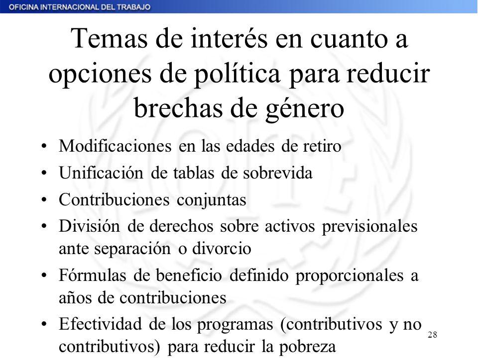 Temas de interés en cuanto a opciones de política para reducir brechas de género