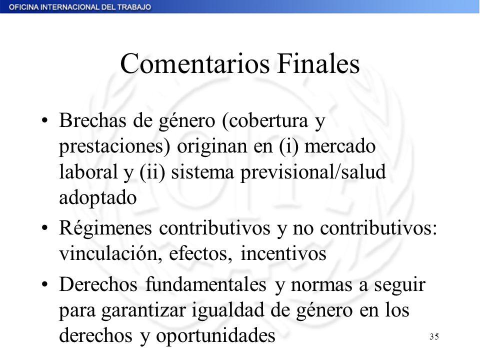 Comentarios Finales Brechas de género (cobertura y prestaciones) originan en (i) mercado laboral y (ii) sistema previsional/salud adoptado.