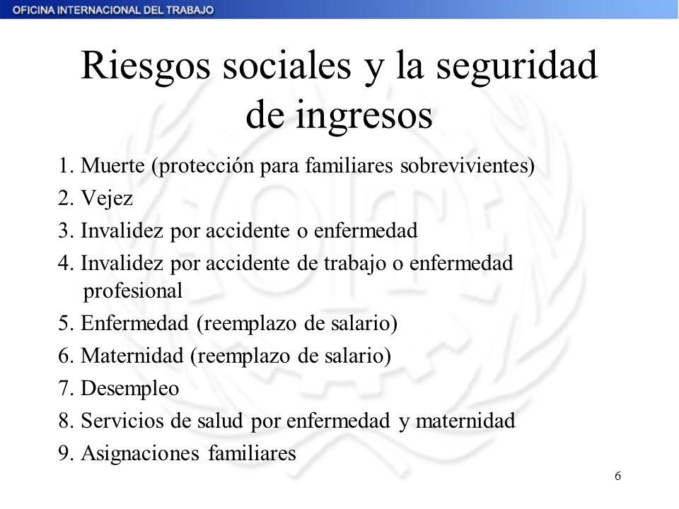 Riesgos sociales y la seguridad de ingresos