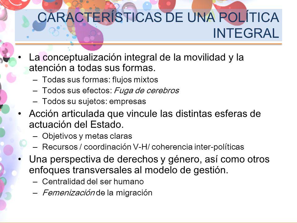 CARACTERÍSTICAS DE UNA POLÍTICA INTEGRAL
