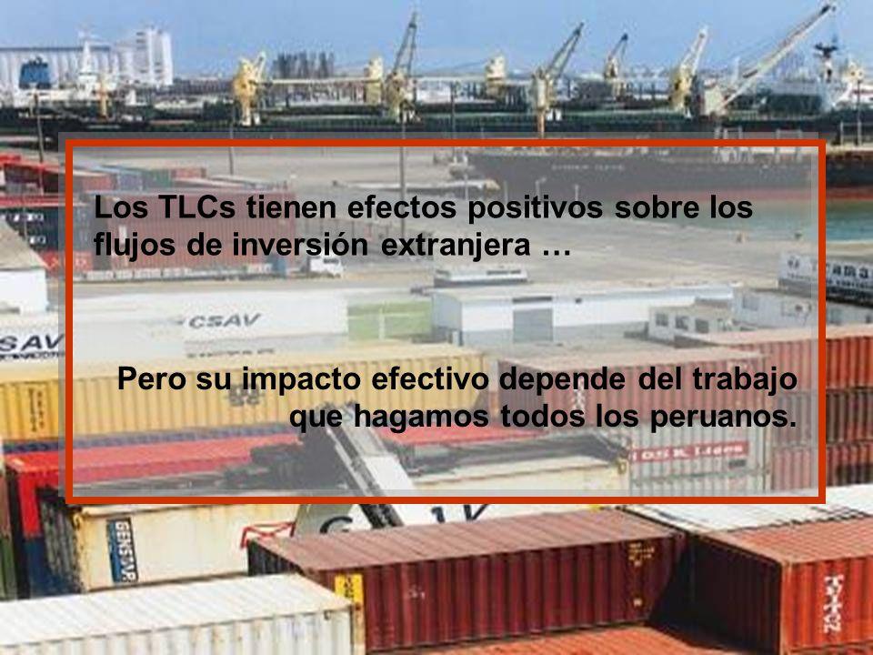 Los TLCs tienen efectos positivos sobre los flujos de inversión extranjera …