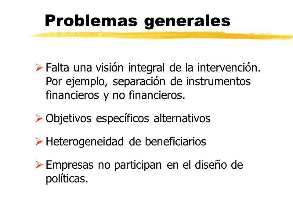 Problemas generales Falta una visión integral de la intervención. Por ejemplo, separación de instrumentos financieros y no financieros.