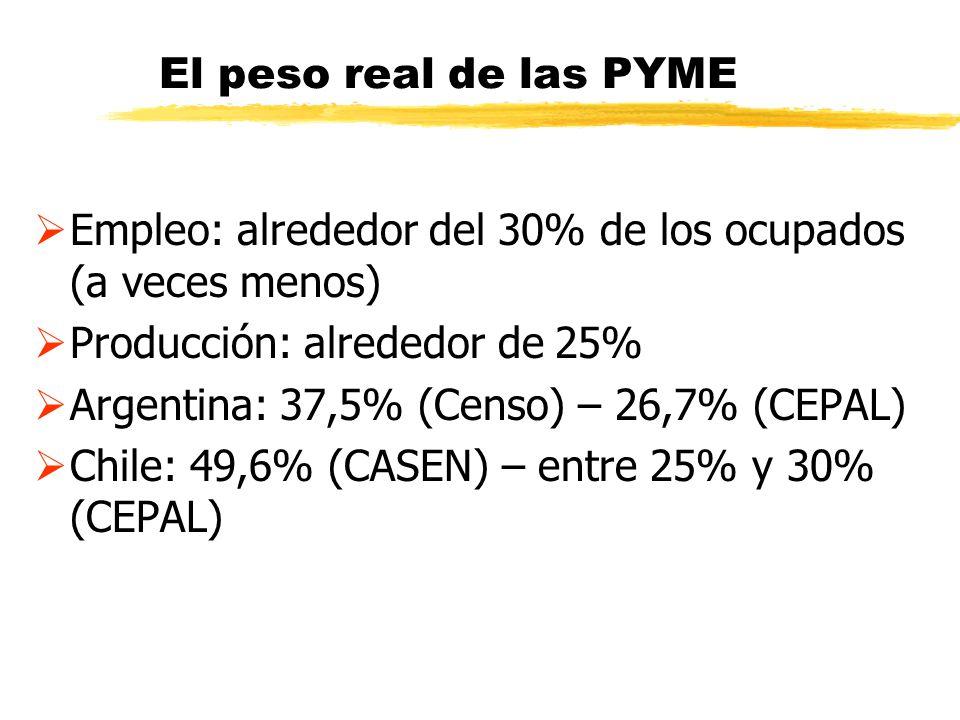 El peso real de las PYME Empleo: alrededor del 30% de los ocupados (a veces menos) Producción: alrededor de 25%