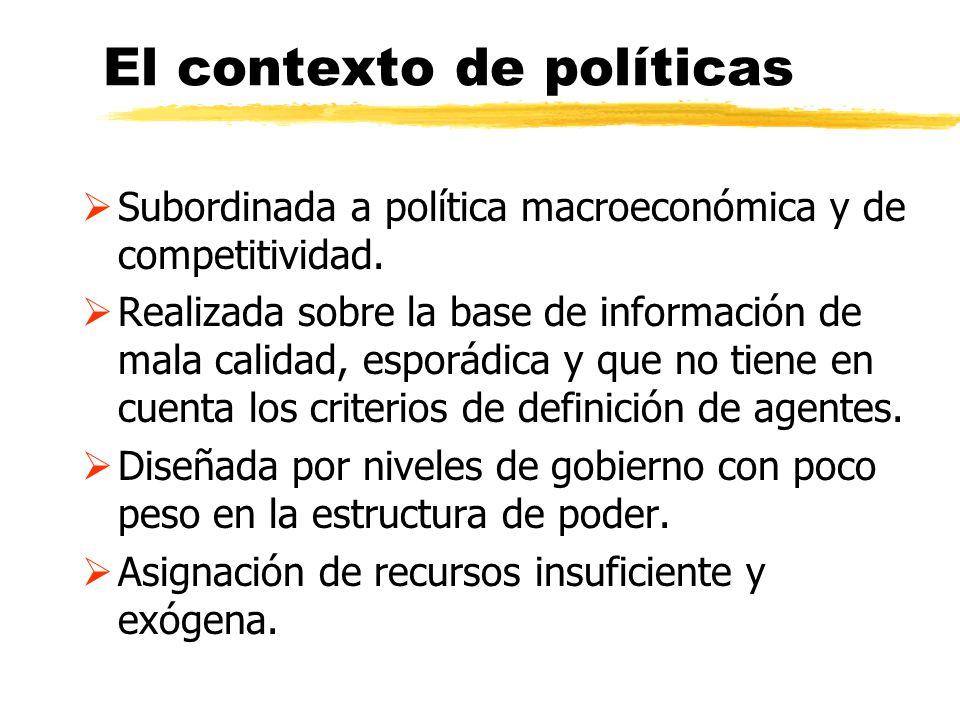 El contexto de políticas