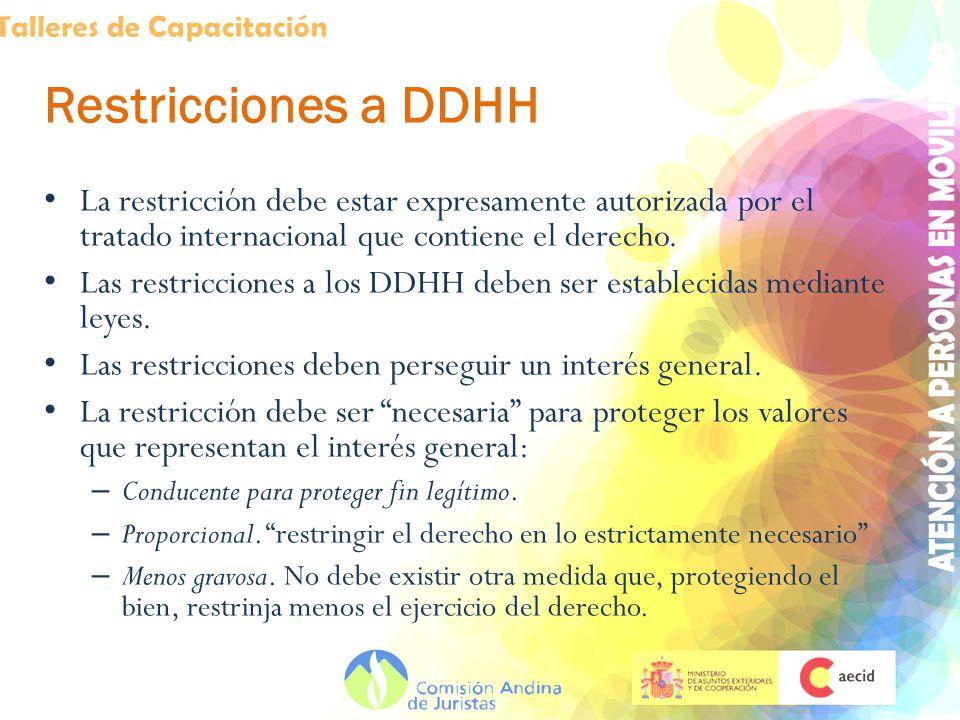 Restricciones a DDHH La restricción debe estar expresamente autorizada por el tratado internacional que contiene el derecho.