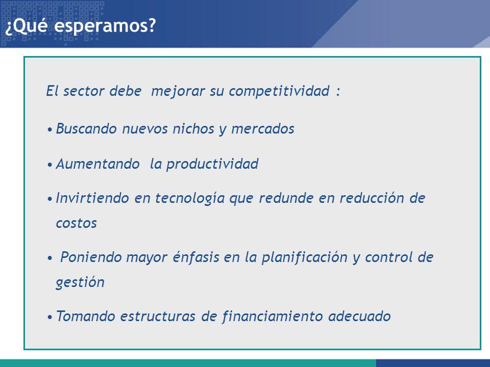 ¿Qué esperamos El sector debe mejorar su competitividad :