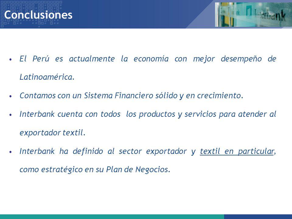 Conclusiones El Perú es actualmente la economía con mejor desempeño de Latinoamérica. Contamos con un Sistema Financiero sólido y en crecimiento.