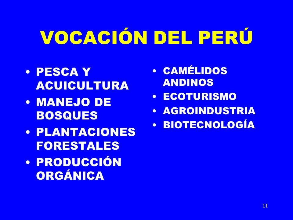 VOCACIÓN DEL PERÚ PESCA Y ACUICULTURA MANEJO DE BOSQUES