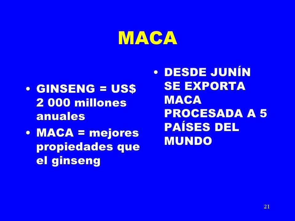MACA DESDE JUNÍN SE EXPORTA MACA PROCESADA A 5 PAÍSES DEL MUNDO