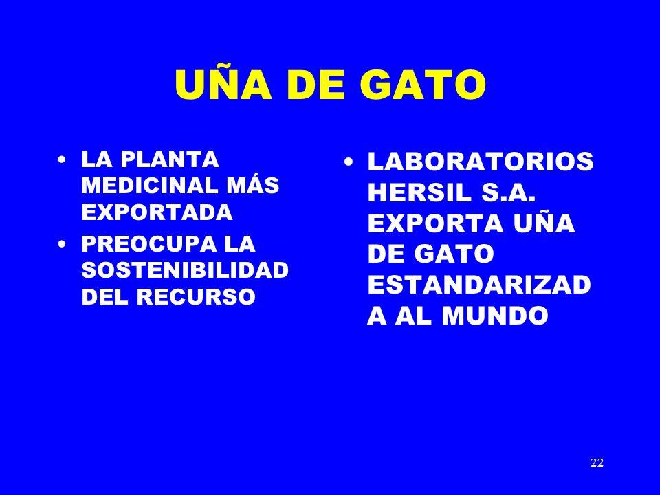 UÑA DE GATO LA PLANTA MEDICINAL MÁS EXPORTADA. PREOCUPA LA SOSTENIBILIDAD DEL RECURSO.