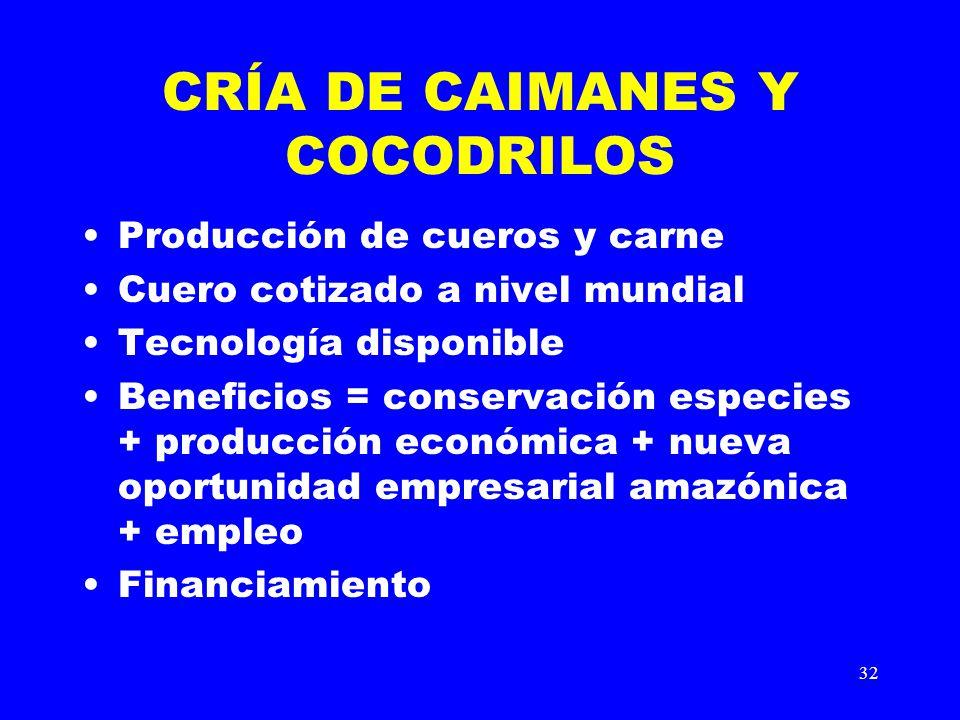 CRÍA DE CAIMANES Y COCODRILOS
