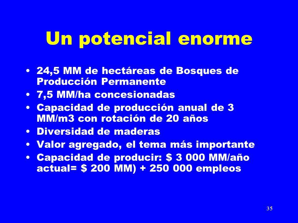 Un potencial enorme 24,5 MM de hectáreas de Bosques de Producción Permanente. 7,5 MM/ha concesionadas.