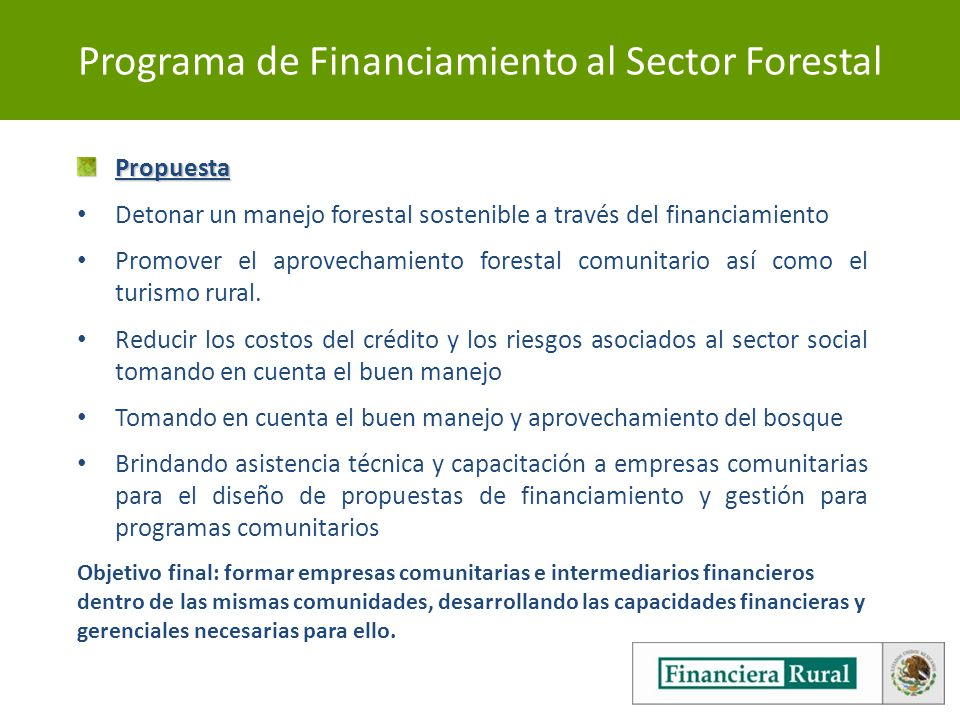 Programa de Financiamiento al Sector Forestal