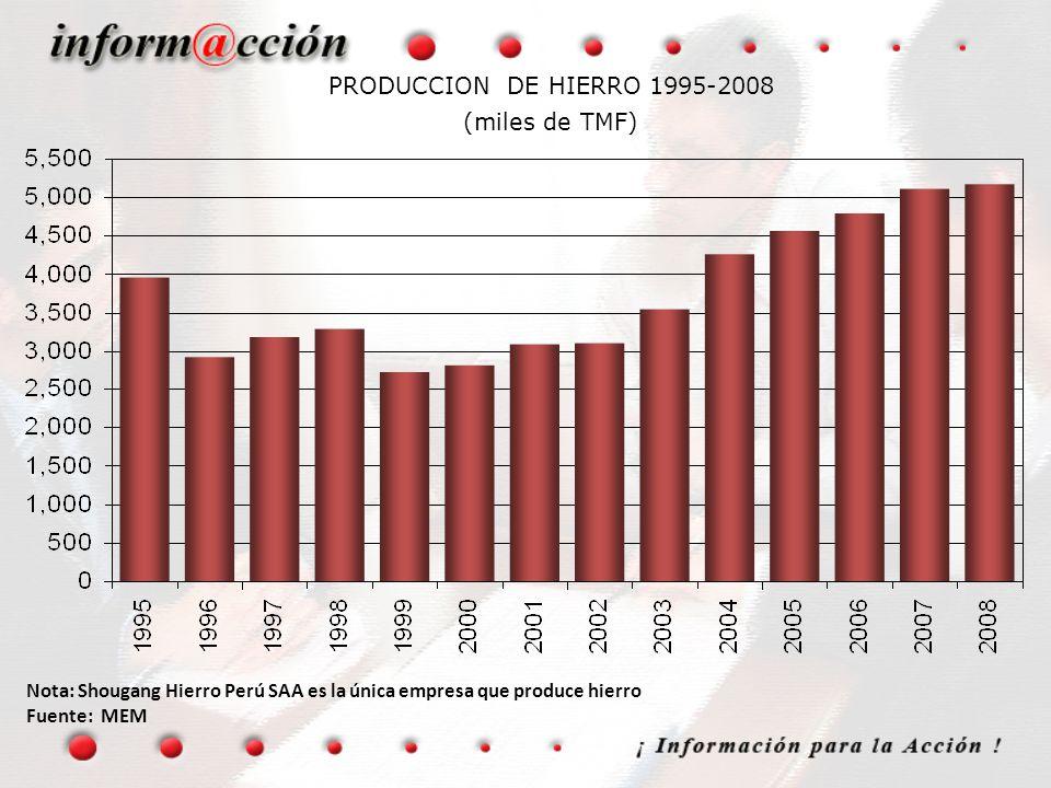 PRODUCCION DE HIERRO 1995-2008 (miles de TMF)