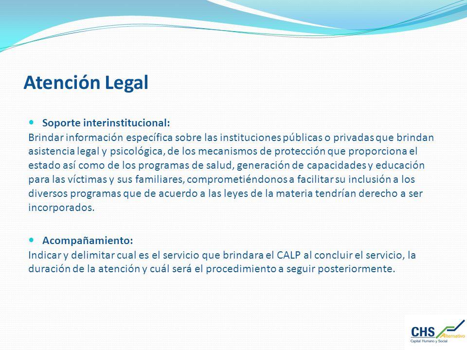 Atención Legal Soporte interinstitucional: