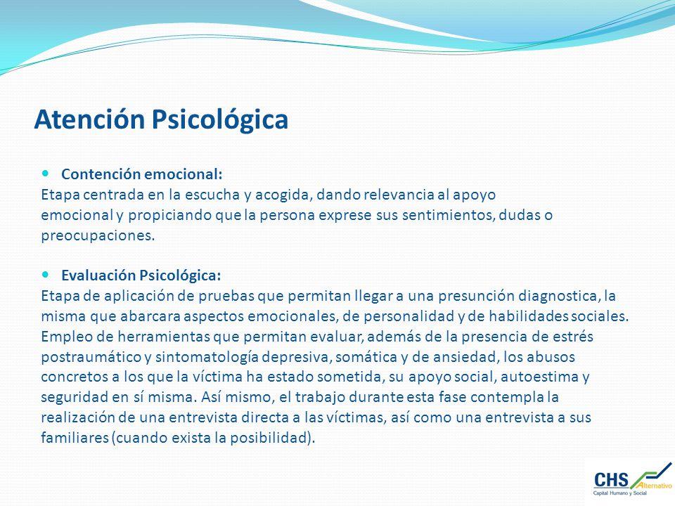 Atención Psicológica Contención emocional: