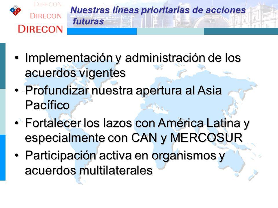 Implementación y administración de los acuerdos vigentes
