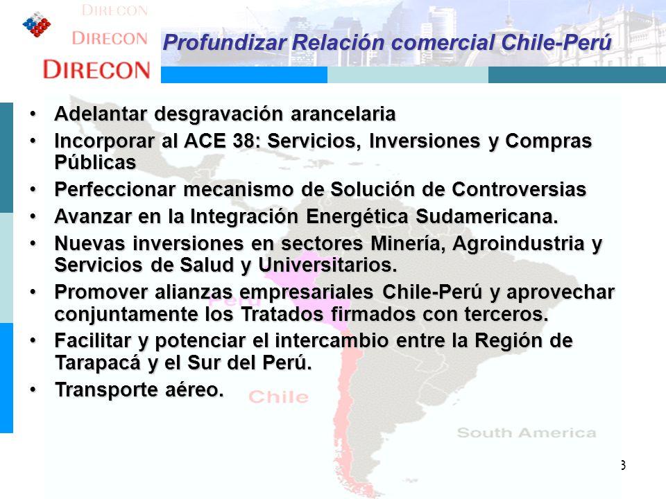 Profundizar Relación comercial Chile-Perú