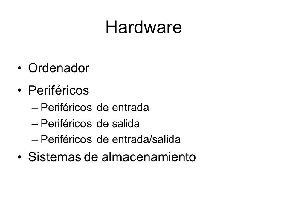 Hardware Ordenador Periféricos Sistemas de almacenamiento