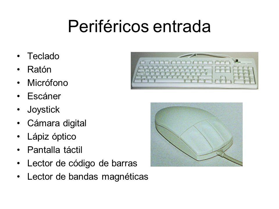 Periféricos entrada Teclado Ratón Micrófono Escáner Joystick