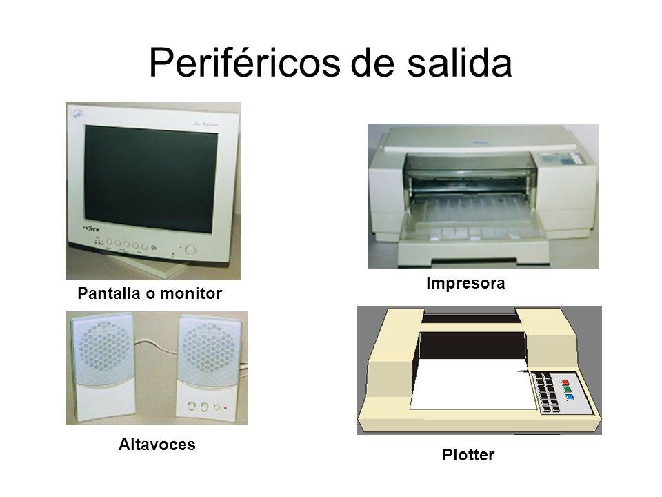 Periféricos de salida Impresora Pantalla o monitor Altavoces Plotter