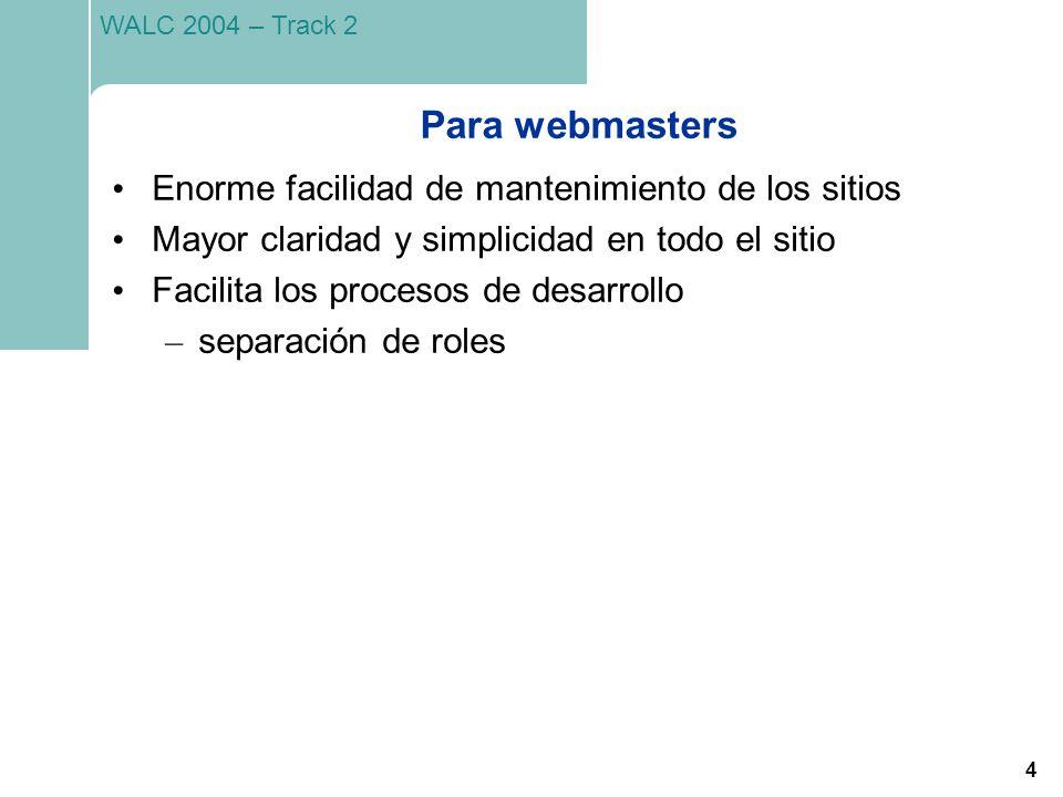 Para webmasters Enorme facilidad de mantenimiento de los sitios