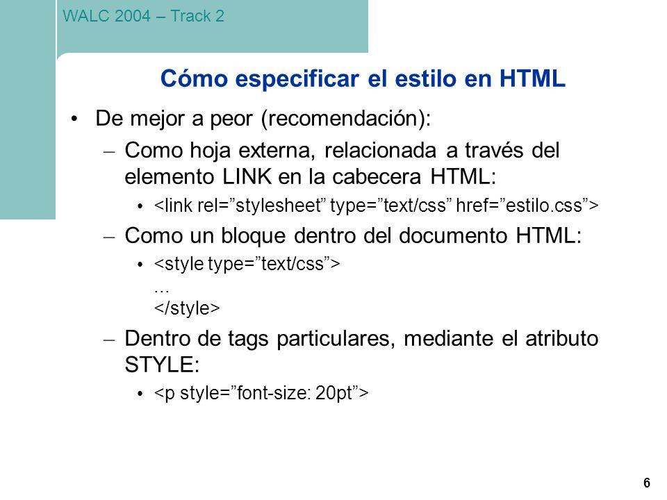 Cómo especificar el estilo en HTML