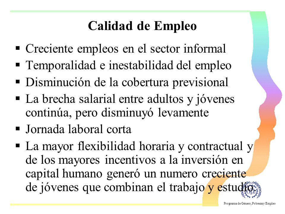 Calidad de Empleo Creciente empleos en el sector informal