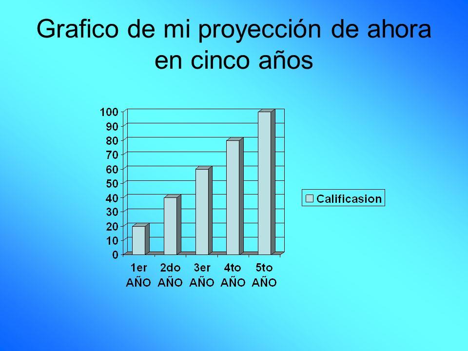 Grafico de mi proyección de ahora en cinco años