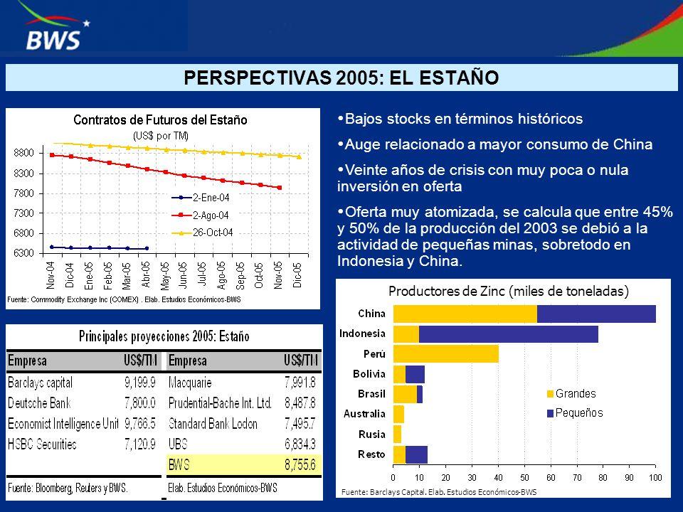PERSPECTIVAS 2005: EL ESTAÑO