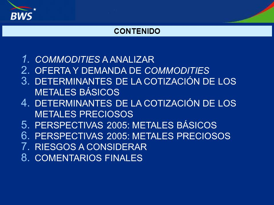 COMMODITIES A ANALIZAR OFERTA Y DEMANDA DE COMMODITIES