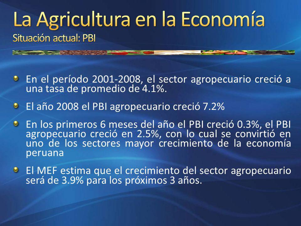 La Agricultura en la Economía Situación actual: PBI