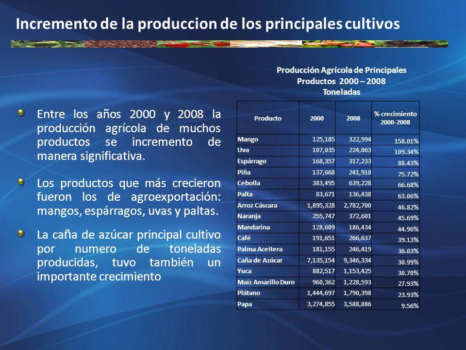 Producción Agrícola de Principales Productos 2000 – 2008