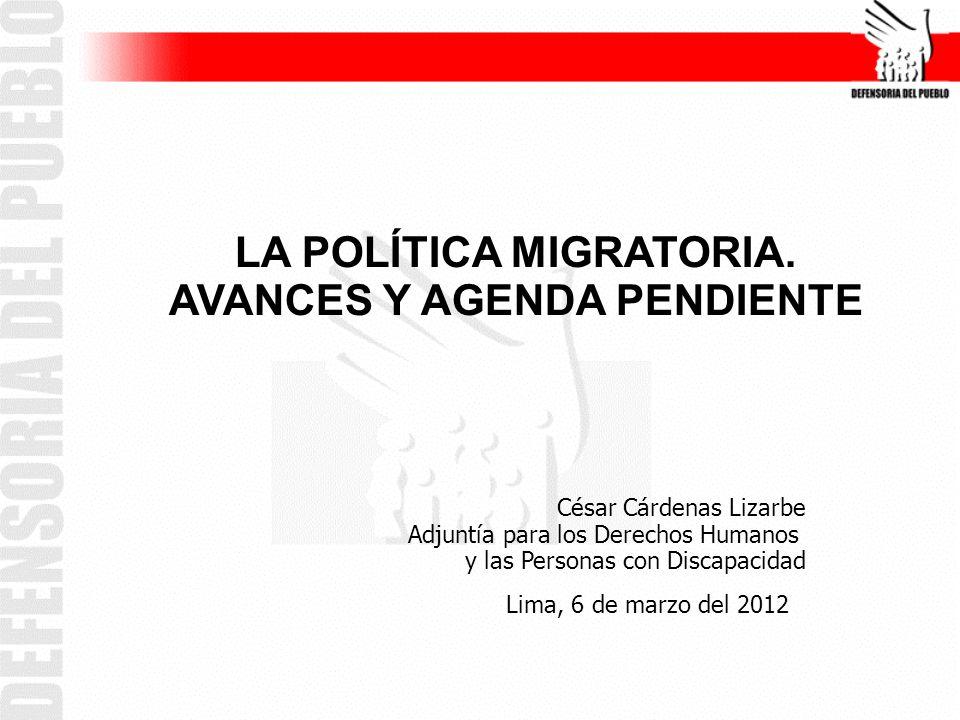 LA POLÍTICA MIGRATORIA. AVANCES Y AGENDA PENDIENTE