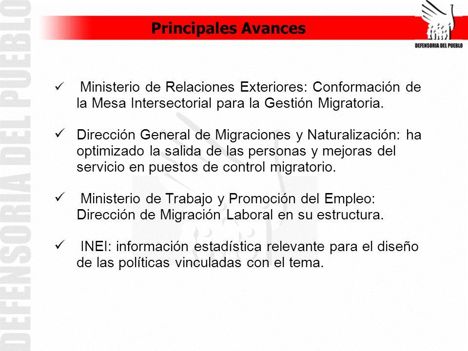 Principales Avances Ministerio de Relaciones Exteriores: Conformación de la Mesa Intersectorial para la Gestión Migratoria.