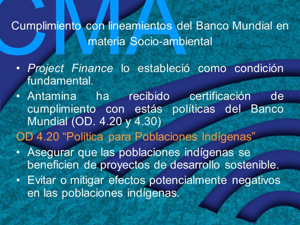 Cumplimiento con lineamientos del Banco Mundial en materia Socio-ambiental