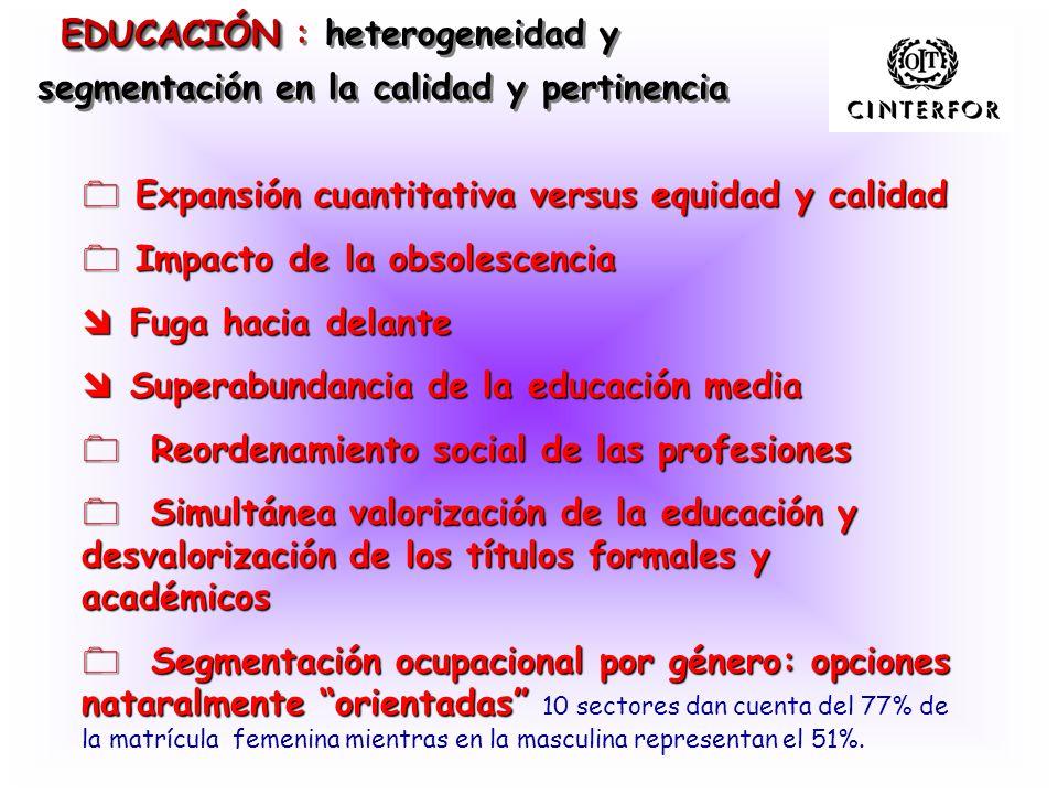 EDUCACIÓN : heterogeneidad y segmentación en la calidad y pertinencia