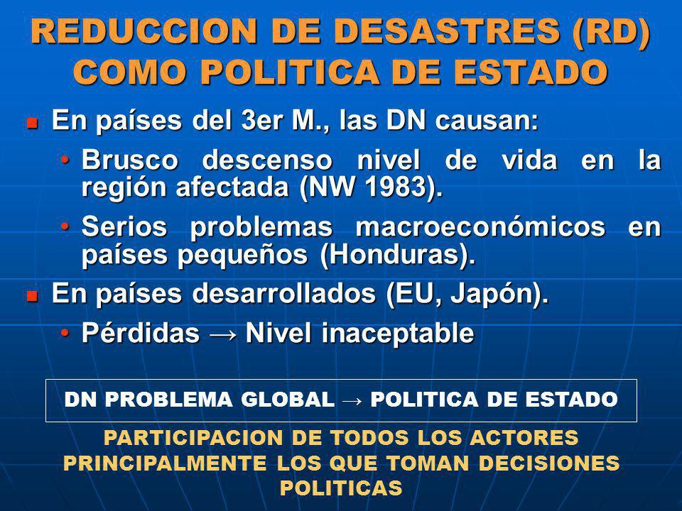 REDUCCION DE DESASTRES (RD) COMO POLITICA DE ESTADO